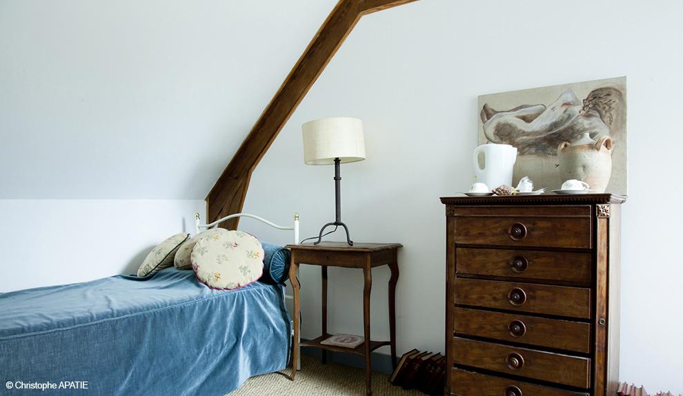 Chambre d'hôte ou gite, chambre à deux lits.