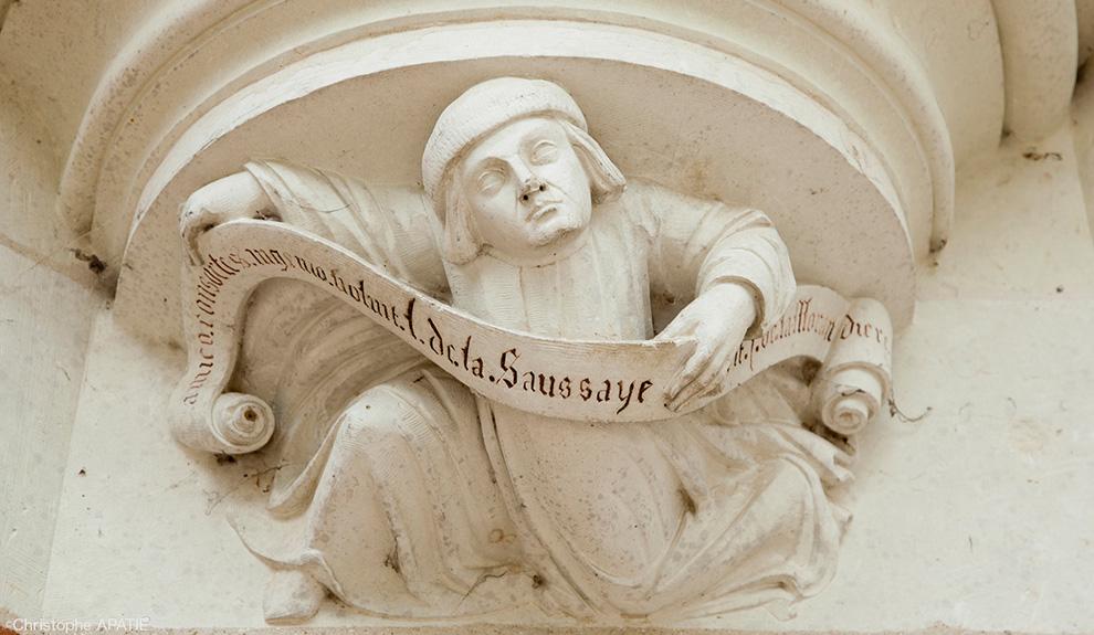 Marmouset commémorant l'oeuvre de la Saussaye et de son ami architecte Jules de La Morandière. 19ème.