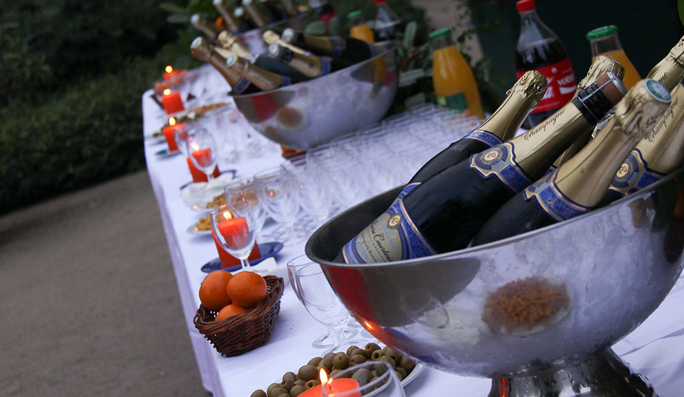 Détails d'un cocktail dans la cour du Château de Troussay